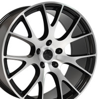 DG15 20-inch Black Machined Face rims fit Dodge Charger-Challenger (Hellcat style) view 2p