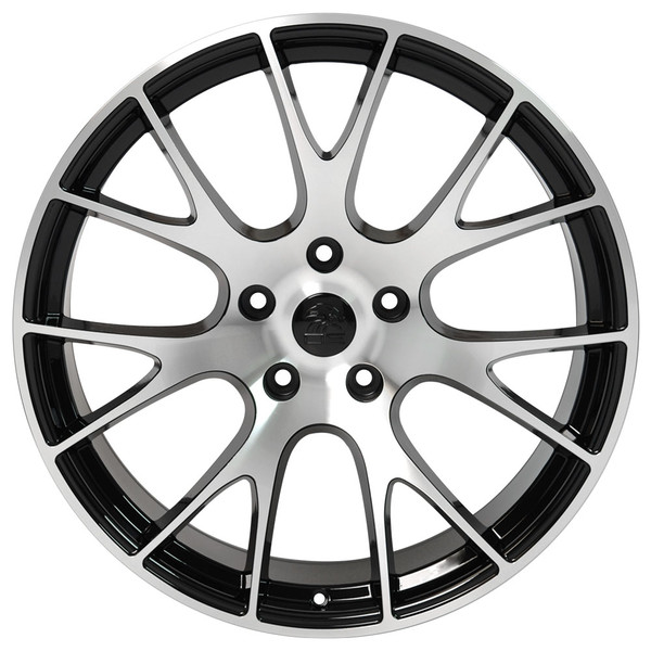 DG15 20-inch Black Machined Face rims fit Dodge Charger-Challenger (Hellcat style) view 1