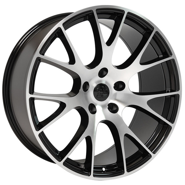 DG15 20-inch Black Machined Face rims fit Dodge Charger-Challenger (Hellcat style) view 2