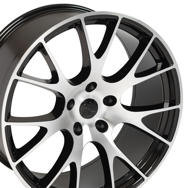 DG15 20-inch Black Machined Face rims fit Dodge Charger-Challenger (Hellcat style) view 3p