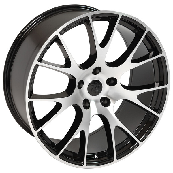 22-inch Black Machined Face rims fit Ram 1500 (Hellcat style) DG69-3