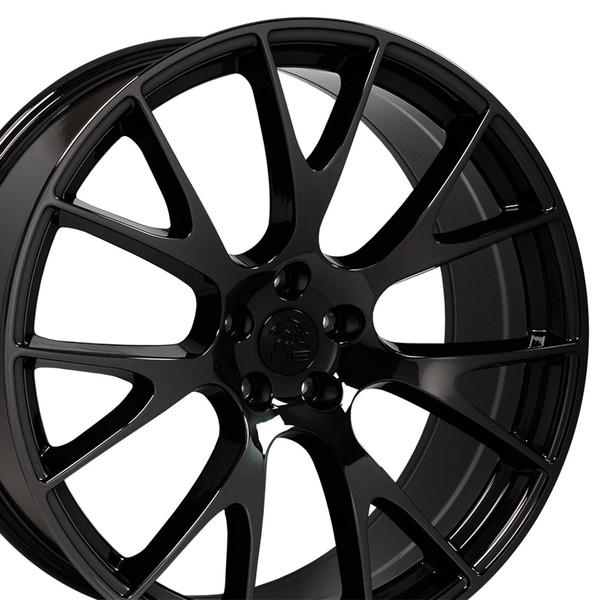 Fits Dodge Ram Wheel Hellcat Replica Rim Dg69 22x10 Black Chrome Dodge Truck Rim