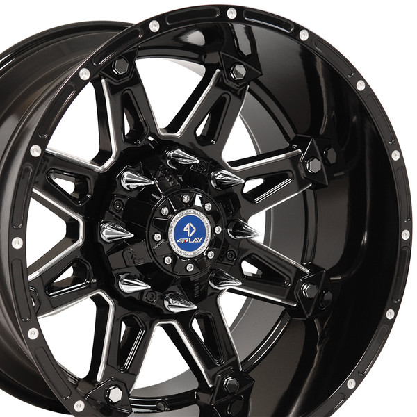 Chevy Truck Wheels >> Fp01 20 Inch Black Machined Face Aftermarket Wheel Set For Chevy And