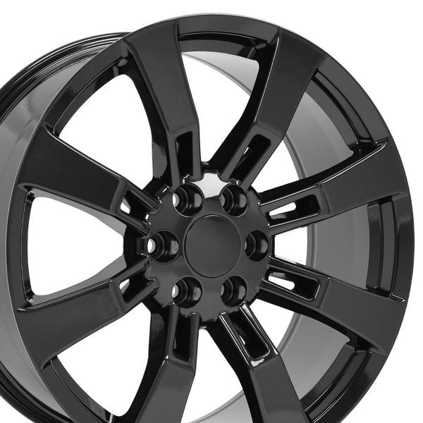 "22"" Wheels For Cadillac Escalade CA82 22x9 Black Rims SET"