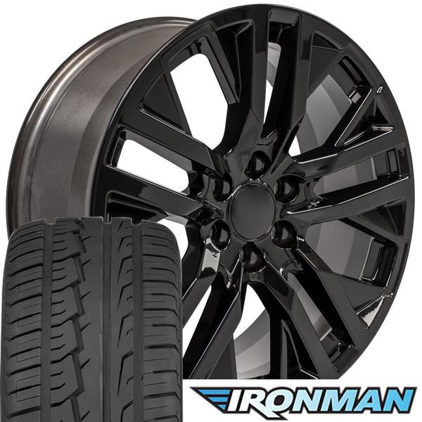 22 Inch Tires >> Cv38 22 Inch Replica Gmc Sierra Black Rims And Tires Ironman