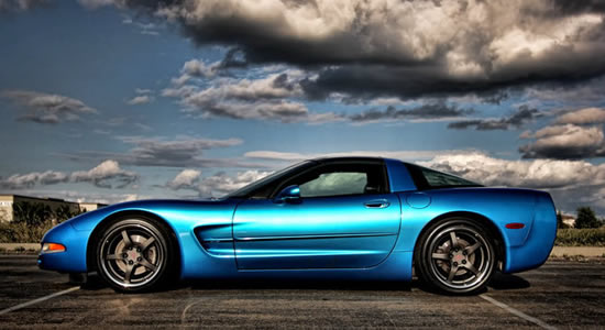 awesome sky, awesome Vette with C5 style wheels from OE Wheels