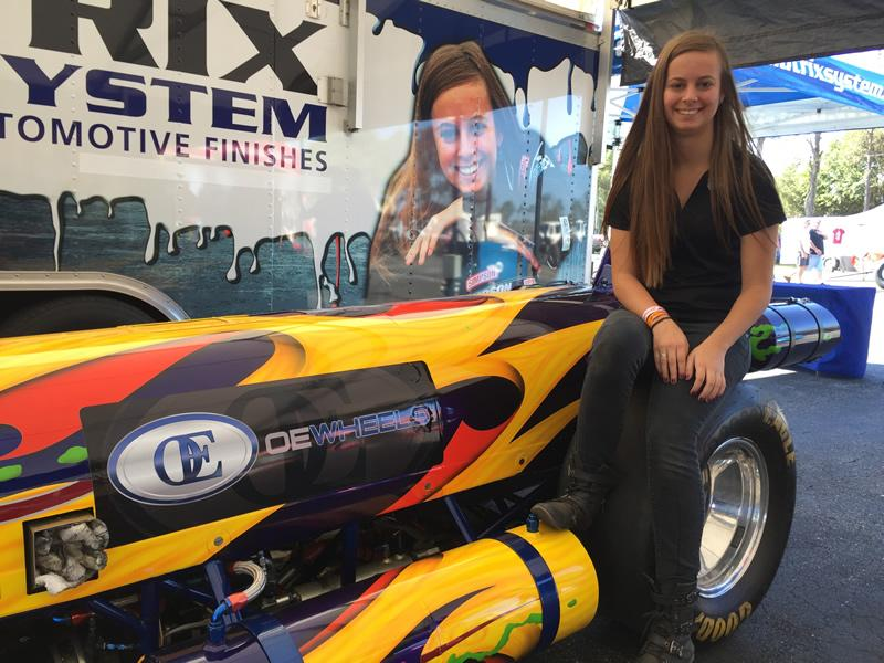Kat Moller and the Matrix Jet Dragster sponsored by OE Wheels