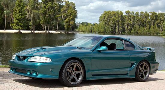 Beautiful blue Mustang with replica wheels from OE Wheels