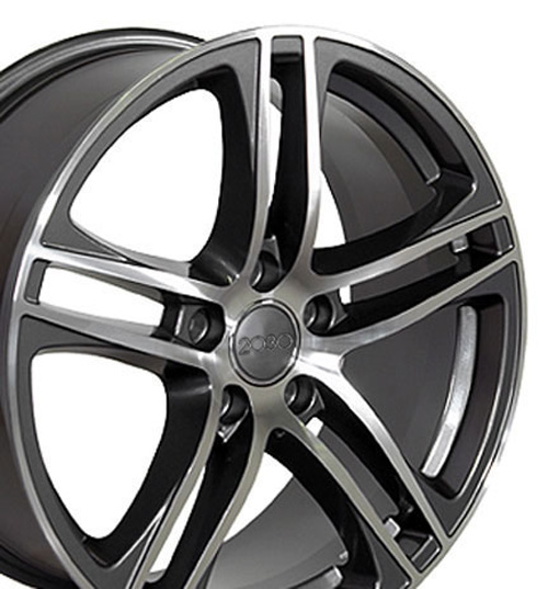 Image of 17 inch Rim Fits Audi A3 Style AU07 17x7.5 Gunmetal Machined Wheel