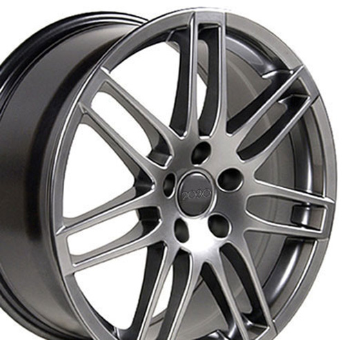 18x8 Hyper Silver RS4 Style Wheels Set Of 4 Rims Fit Audi