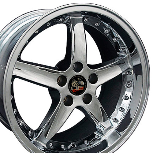 Wheels on 18  Fits Mustang   Cobra R Deep Dish Wheels   Chrome 18x10   18x9 Set