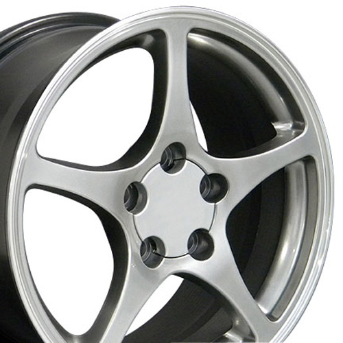 Wheels on 18 Fits Camaro Corvette C5 Wheels Hyper Silver 18x9 5 17x8 5 Set Out