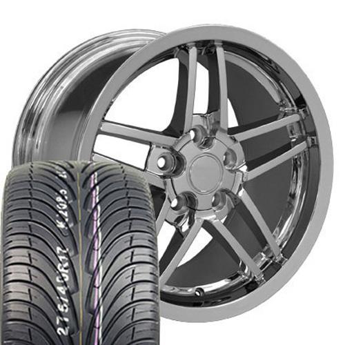 Wheels on 17 Fits Camaro Corvette C6 Z06 Wheels Tires Chrome 17x9 5 Set